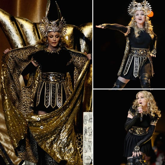 Pictures of Madonna's 2012 Super Bowl Stage Outfit: Givenchy Couture, Bvlgari Earrings and Philip Treacy Head Piece