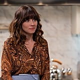 Judy's Paisley-Print Blouse and Denim Maxi Skirt on Dead to Me