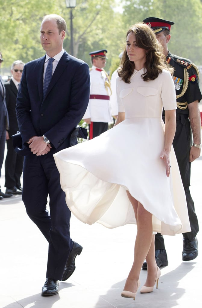 In April 2016, while arriving at a war memorial in India, Kate almost fell victim to a heavy gust of wind that blew up her Emilia Wickstead dress. The most Marilyn moment so far!