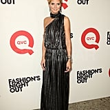 Heidi Klum made the rounds on Fashion's Night Out.