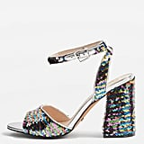 Topshop Reaction Sequin Embellished Block Heel Sandals
