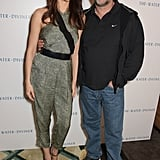 Olga Kurylenko and Russell Crowe posed for photos at Claridge's in London on Wednesday to promote their new film, The Water Diviner.