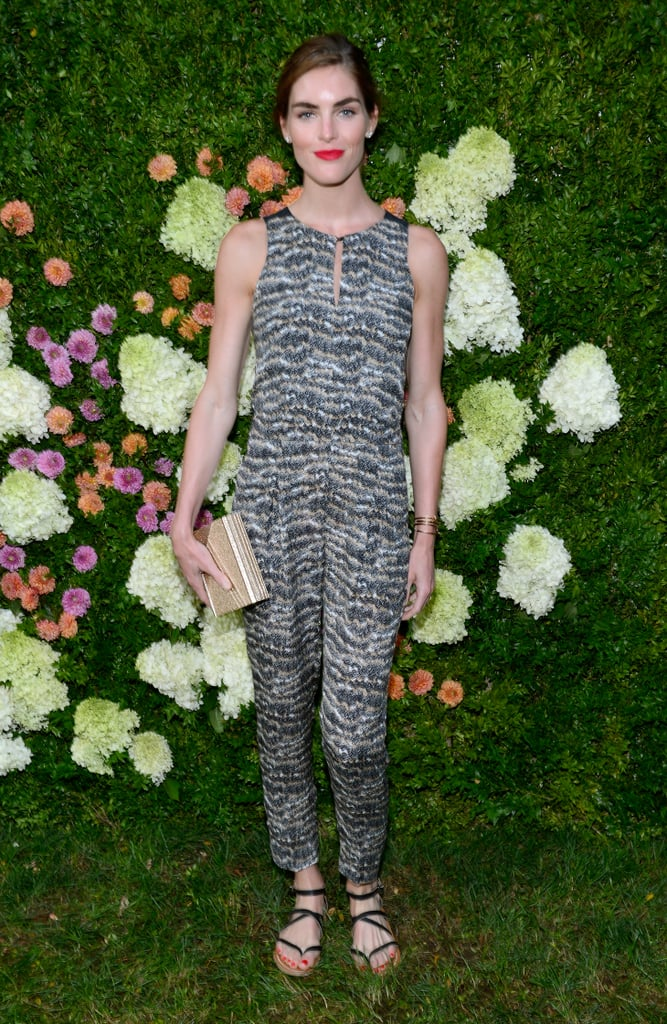 Hilary Rhoda stepped out in a wild jumpsuit for the East Hampton Baby Buggy dinner.