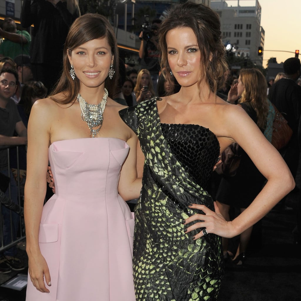 Jessica Biel and Kate Beckinsale at Total Recall Premiere