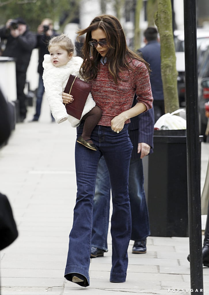 Victoria Beckham celebrated the launch of her new website during a stylish errand run with Harper in London.