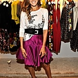 A fuchsia skirt fashionable tee for Fashion's Night Out.