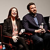Ben Affeck sat next to producer Kathleen Kennedy at the Producers Guild Awards nominees breakfast event.