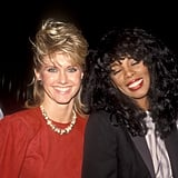 Olivia Newton-John and Donna Summer enjoy themselves at the  Dreamgirls opening night in 1983.