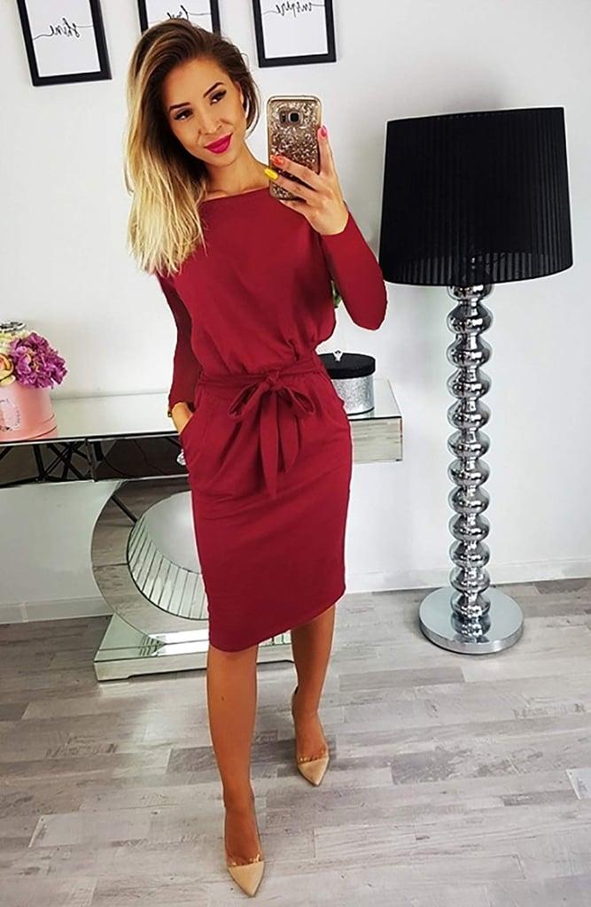 PrettyGarden Belted Dress With Pockets