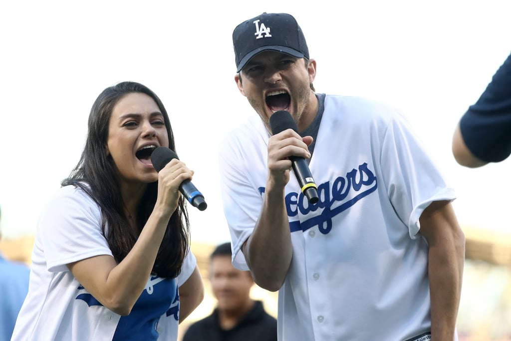 After showing their team spirit while running errands on Wednesday afternoon, Ashton Kutcher took his wife, Mila Kunis, to the ball game at Dodger Stadium in LA to watch the LA Dodgers take on the Chicago Cubs at game four of the National League Championship Series. Not only did the lucky couple get to announce the starting lineup for the Dodgers, but the pair looked beyond adorable in their personalized jerseys. Mila and Ashton cheered on the athletes from the front row and even stopped to snap a few selfies with a few lucky fans. The duo's latest appearance comes a little over a week after Ashton revealed he and Mila are expecting a baby boy during an appearance on the Today show. Missing from the fun, though, was their daughter Wyatt, who recently celebrated her second birthday.        Related:                                                                                                           How Mila Kunis and Ashton Kutcher's Friendship Turned Into Romance