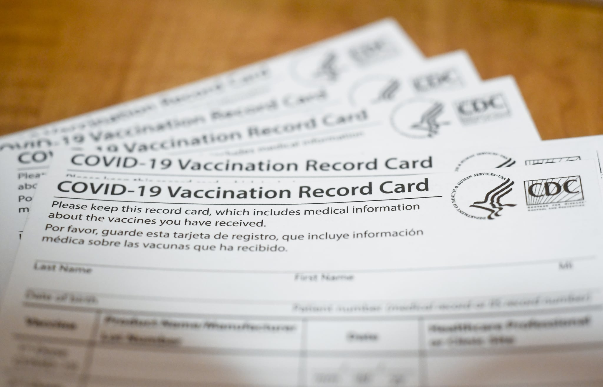 Bern Township, PA - January 29: A COVID-19 Vaccination Record Card from the CDC (Centers for Disease Control and Prevention). At the Berks Heim Nursing and Rehabilitation Center in Bern Township Friday morning January 29, 2021 where residents of the home, and staff are being vaccinated against COVID-19 / Coronavirus with the Pfizer-BioNTech vaccine. (Photo by Ben Hasty/MediaNews Group/Reading Eagle via Getty Images)