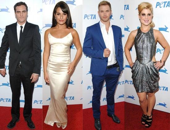 Pictures of Lea Michele, Kellan Lutz, Kelly Osbourne, and Joaquin Phoenix at PETA Humanitarian Awards