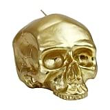 D.L. & Co. Medium Gold Skull Metallic Candle