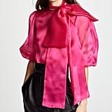 Costarellos Oversized Bow Puff Half-Sleeve Blouse