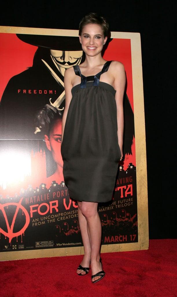 Natalie Portman in a Black Halter Sheath at the 2006 V For Vendetta NYC Premiere