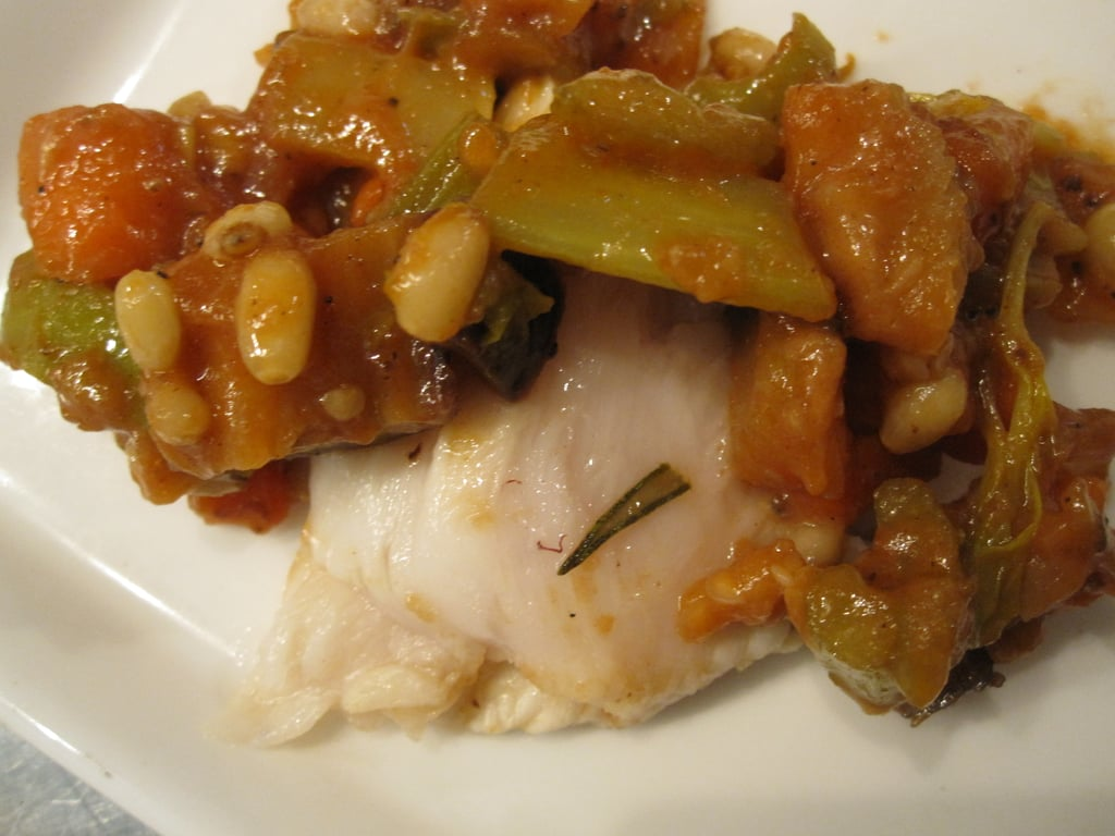 Escolar With Gardon Caponata