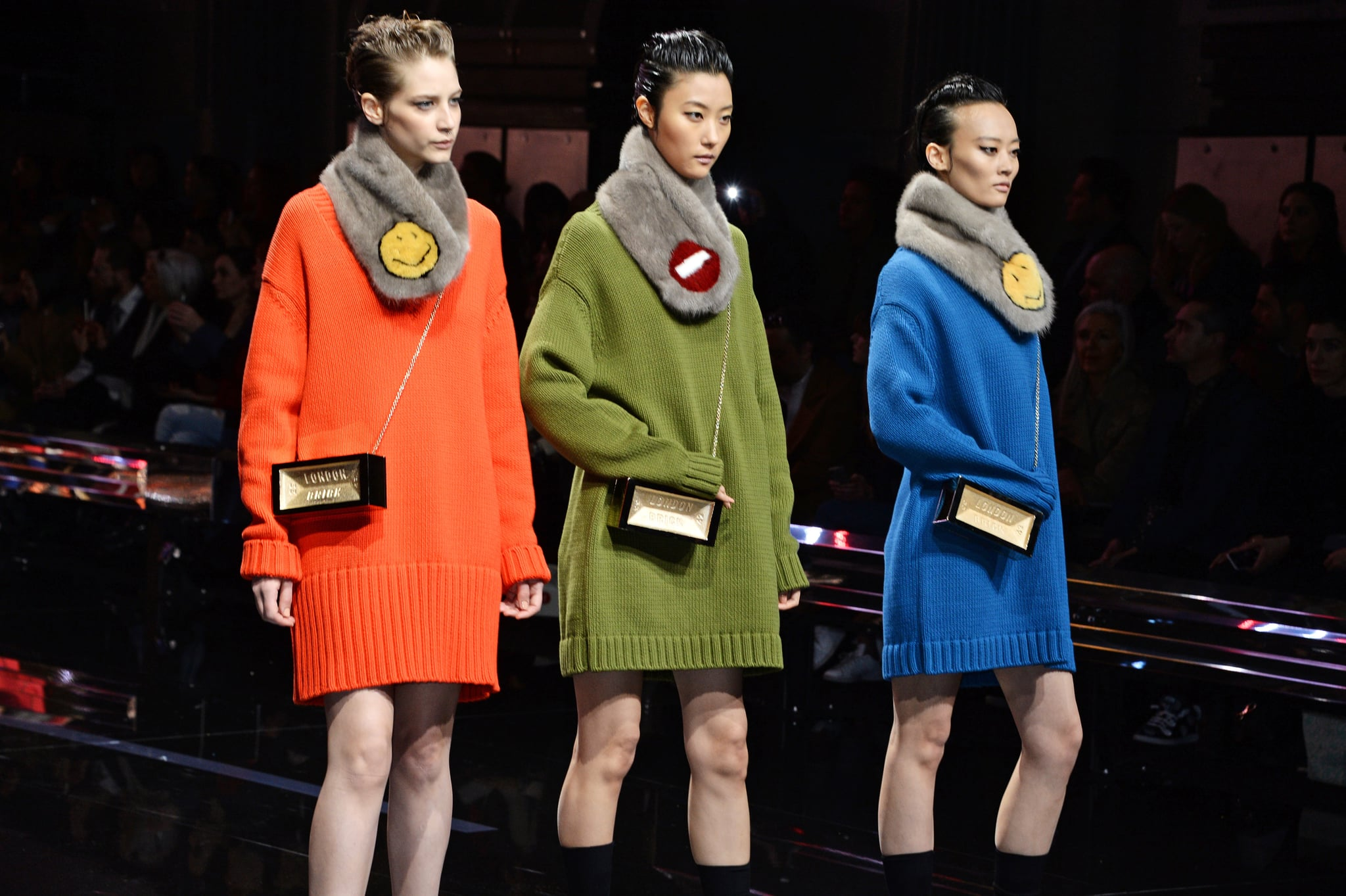 LONDON, ENGLAND - FEBRUARY 24:  Models walk the runway at the Anya Hindmarch AW15 Presentation during London Fashion Week at Old Billingsgate Market on February 24, 2015 in London, England.  (Photo by David M. Benett/Getty Images for Anya Hindmarch)
