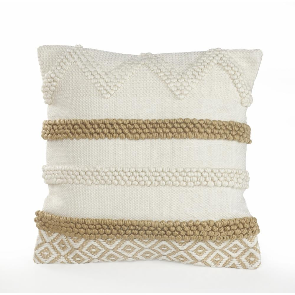 LR Home Knot Beige/White Neutral Textured Cotton Standard Throw Pillow
