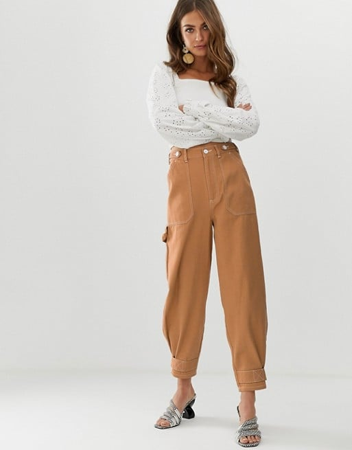 ASOS DESIGN utility pants with top stitching and tab detail