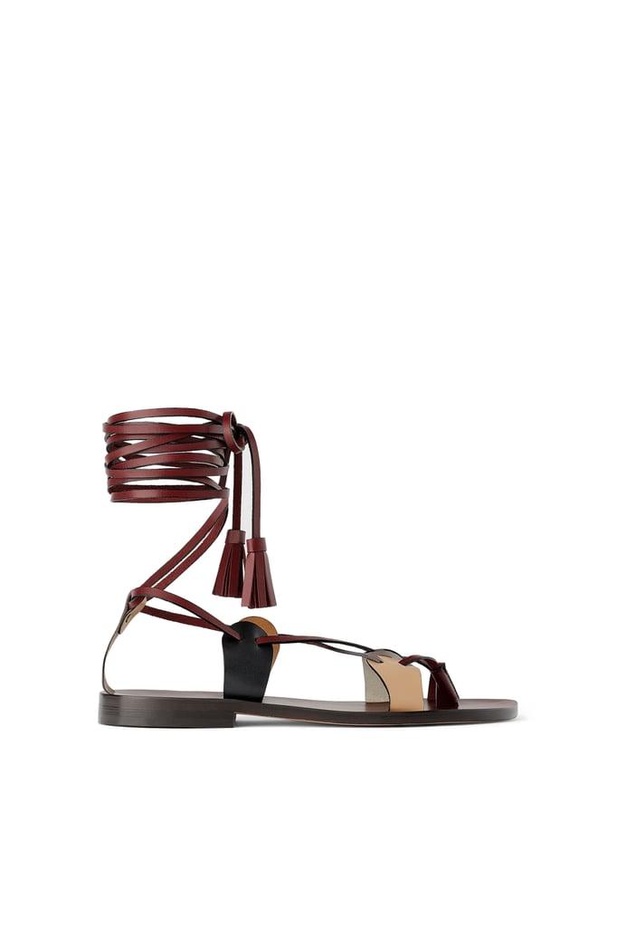 de4018c4e21 Zara Studio Low-Heeled Strappy Leather Sandals