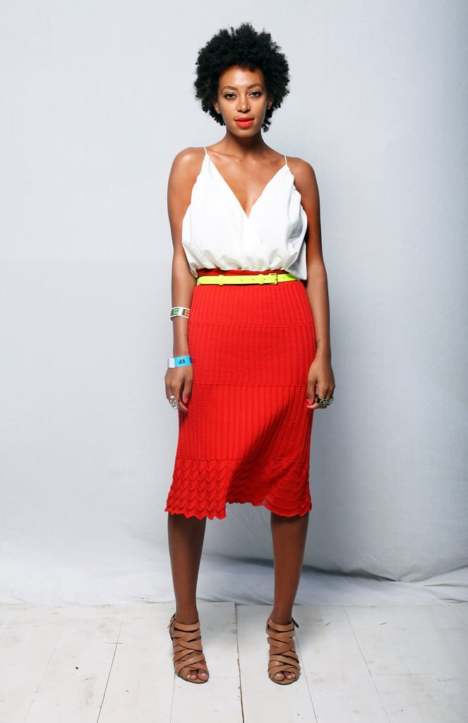 Solange Knowles looked so chic in a fresh colorblocked combo of red, white, and yellow.