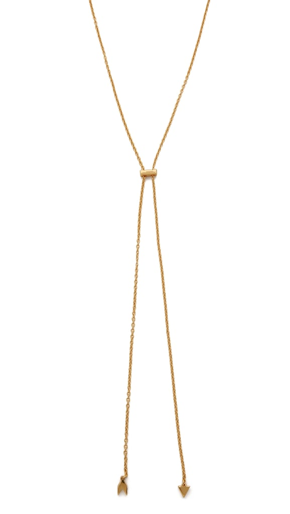 I'm beyond over statement-making baubles and pendants: this Fall, I'm doing feminine and delicate. When I'm giving my trusty bandanas a break, I'll rock this Gorjana Durango Bolo Necklace ($65), which will give me a little something extra without stealing the spotlight.  — Samantha Sutton, assistant editor