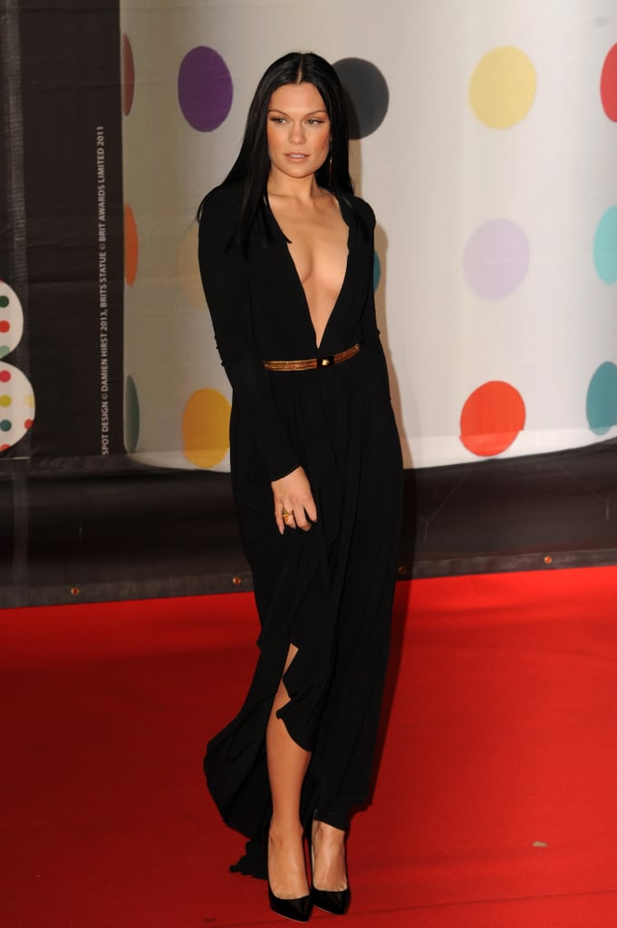 Jessie J showed skin in a black gown with a plunging neckline for the Brit Awards.