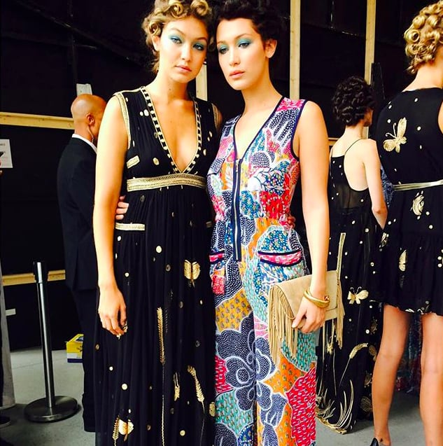 Gigi posed with her sister Bella backstage before the DVF show. This is the second time the stylish duo shared the catwalk, the first being at Tom Ford's LA extravaganza.