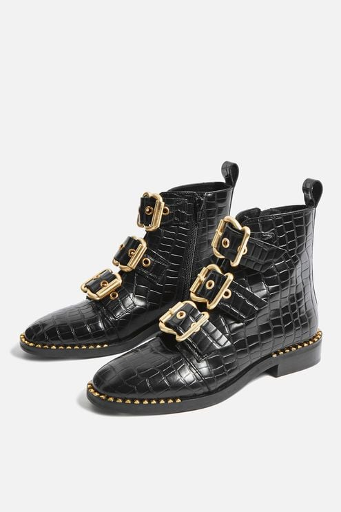 Alfie Crocodile Effect Ankle Boots