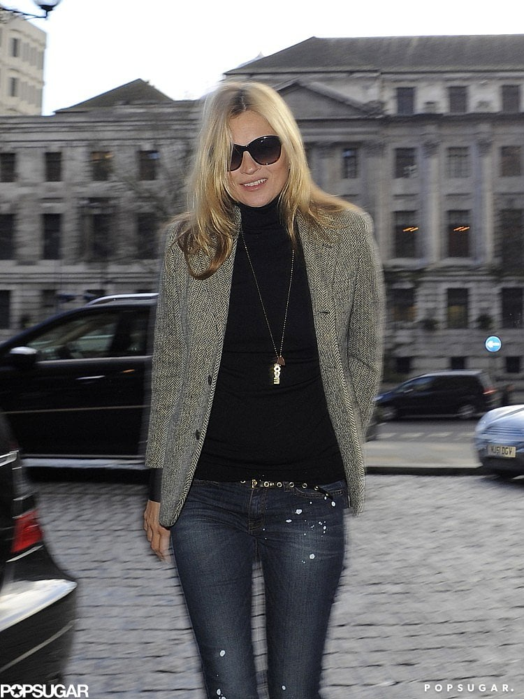 "Kate Moss donned a necklace that read ""Love."""