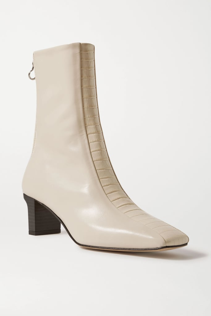 Aeyde Cream Molly paneled smooth and croc-effect leather ankle boots