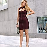 Serena van der Woodsen Wearing a Maroon Dress With a Fun Neckline