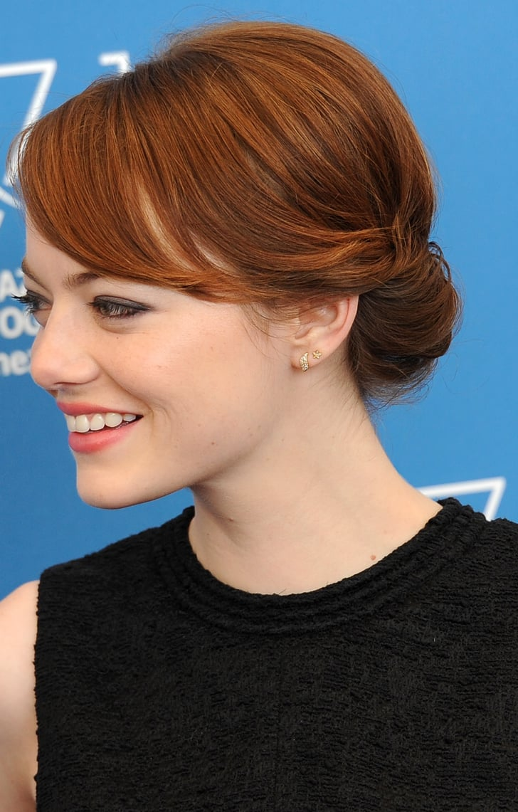 Emma Stone How To Wear Hair Up With A Fringe Popsugar