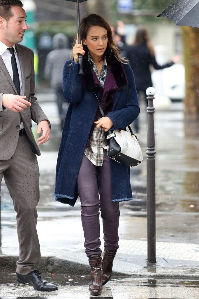 Jessica Alba in Purple Leather Pants and Python Nina Ricci Bag