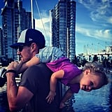 In July 2015, Stephen posted a picture of Mavi hanging from his shoulders.