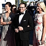 Crown Princess Victoria of Sweden and her husband, Prince Daniel of Sweden, arrived with Princess Mette-Marit of Norway.