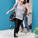 Miley Cyrus wore a gray sweatshirt and black pants for Pilates in LA.