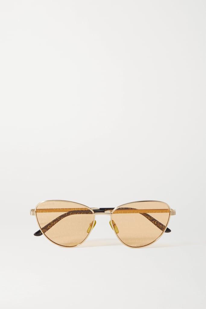 Gucci Gold Cat-Eye Gold-Tone and Acetate Sunglasses