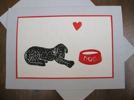 PUPPY LOVE Original block print card by AntheaArt ($5)