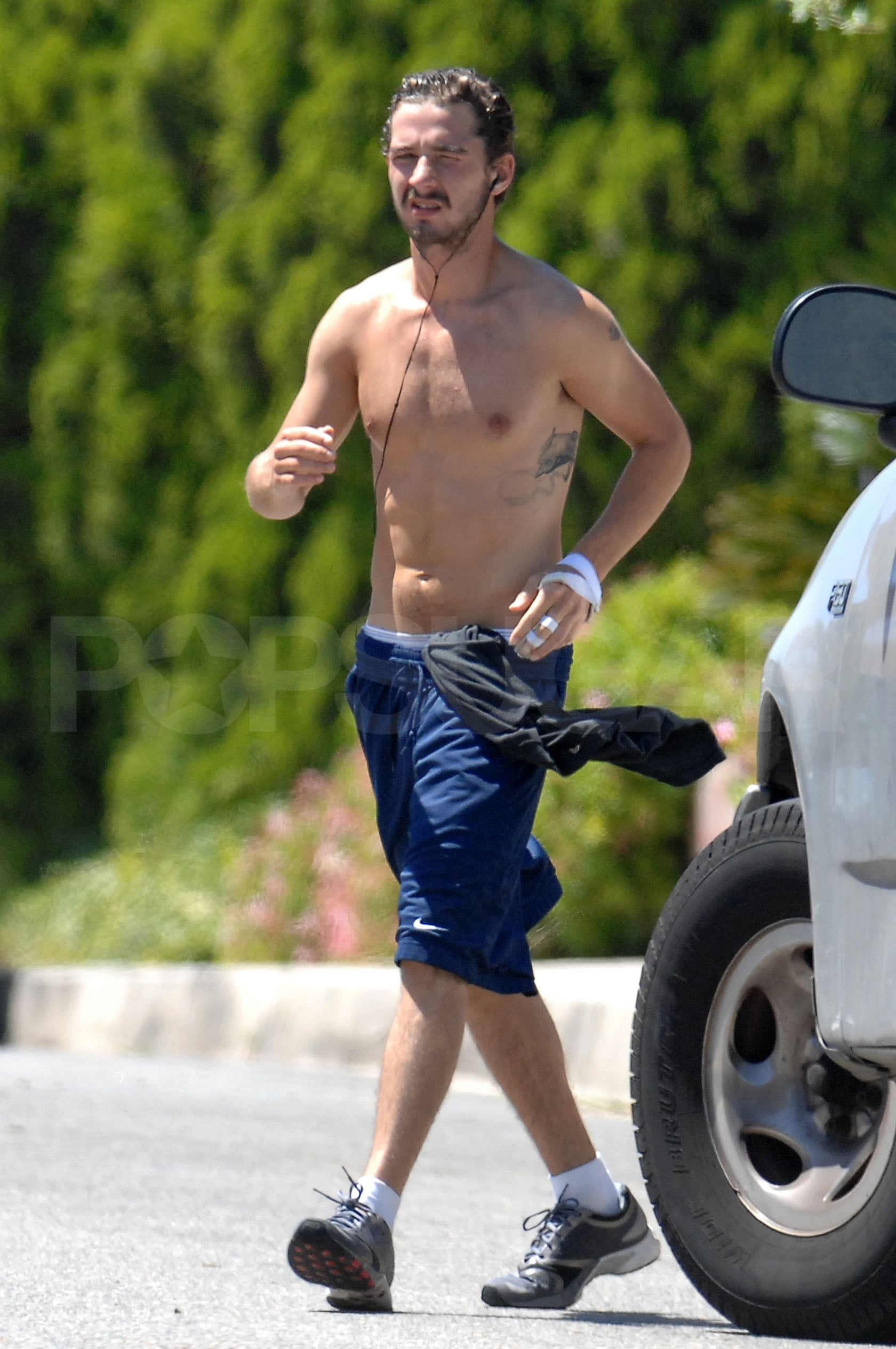 Photos Of Shia Labeouf Jogging Shirtless In La  Popsugar -9943