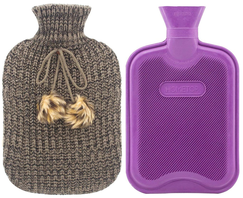 HomeTop Premium Classic Rubber Hot Water Bottle and Blending Knit Cover With Pom Pom Decor in Gray ($15)