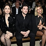 Lily Collins, Kit Harington, and Hailey Bieber at the Saint Laurent Fall 2020 Show