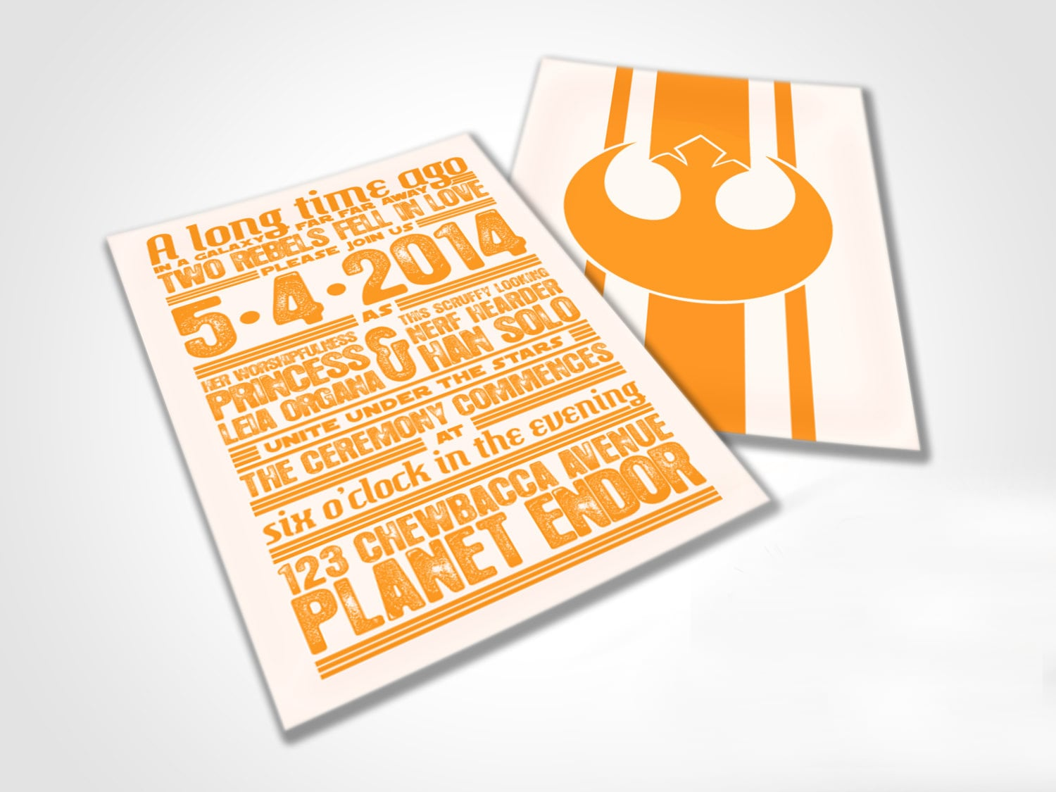 """Star Wars-themed """"rebels in love"""" wedding invites ($50 for digital file)? Done and done."""