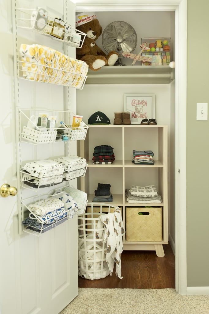 When I need to change a diaper, all I have to do is lay my baby down on the changer on top of the dresser and open the closet door to grab everything I need within arm's reach. I love that it doesn't take up an inch of storage space in my dresser or on closet shelves.