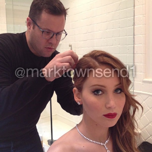 """Working with my inspiration,""  said celebrity stylist Mark Townsend, who styled Jennifer Lawrence's hair for the SAG Awards. Source: Instagram user marktownsend1"