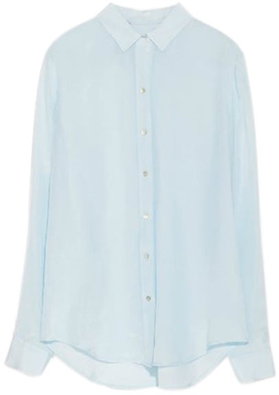 Romwe Asymmetric Buttoned Sheer Light-Blue Shirt ($26)