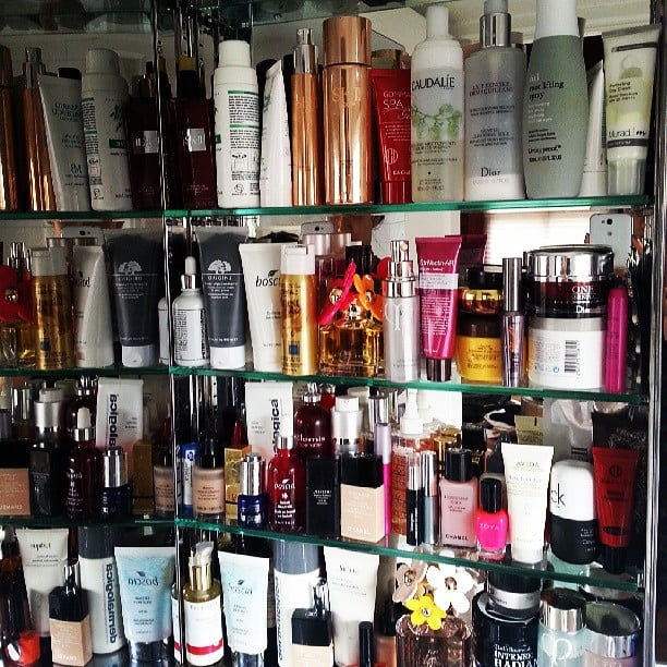 This is what beauty maven Eva Chen's makeup cupboard looks like. Crowded, much? Source: Instagram user evachen212