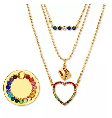Gold-Tone Multicolor Pavé Layered Pendant Necklace & Phone Ring Set