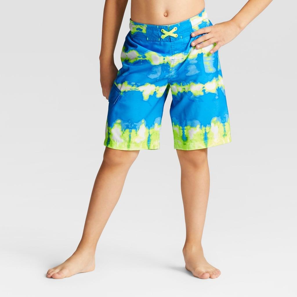 48a9689733 Cat & Jack Boys' Twist Dye Yellow Dash Swim Trunks | Kids Swimsuits ...