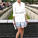 Olivia Palermo posed on her way to the Christian Dior Paris Haute Couture show on Monday.